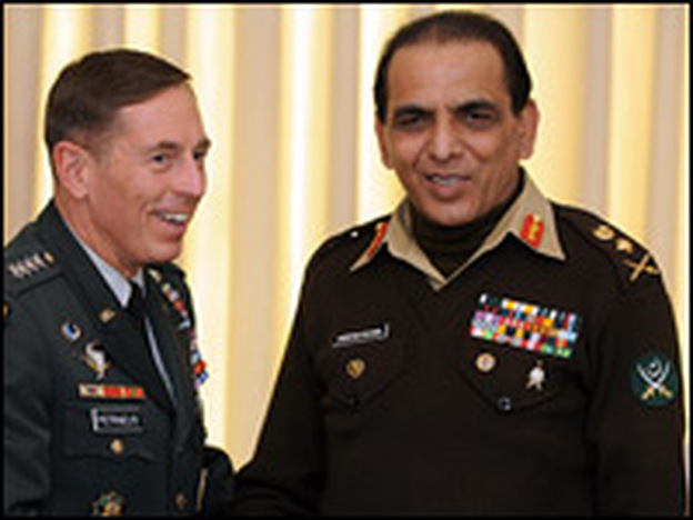 Pakistani army chief of staff Gen. Ashfaq Kayani (right) with U.S. Gen. David Petraeus in Islamabad last month.