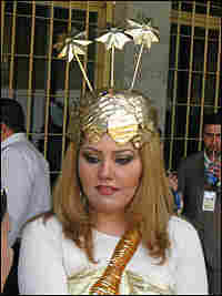 A replica of a golden headdress, one of the Iraqi National Museum's iconic treasures.
