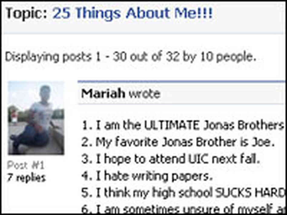 '25 Things About Me' Facebook List