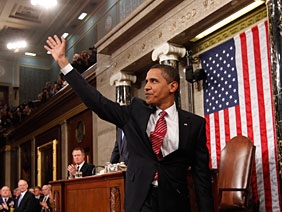 President Barack Obama waves after his address to a joint session of Congress in the House Chamber of the Capitol in Washington, Tuesday, Feb. 24, 2009.  Credit: Pablo Martinez Monsivais/AP