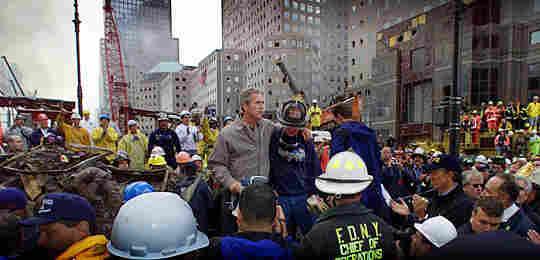 President Bush speaks amid the rubble of ground zero Sept. 14, 2001, in New York City.