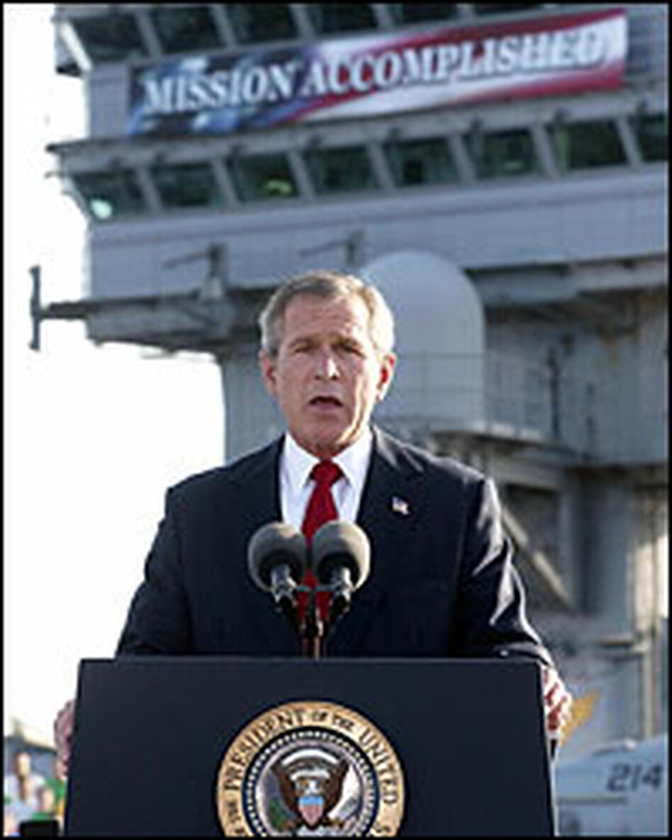 President Bush addresses the nation May 1, 2003, aboard the nuclear aircraft carrier USS Abraham Lincoln off the coast of California.