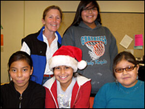 Teacher Margaret Erhart with some of her students at Eagle's Nest Intermediate School.