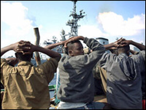 Men accused of being pirates who were arrested by French soldiers in the Gulf of Aden.