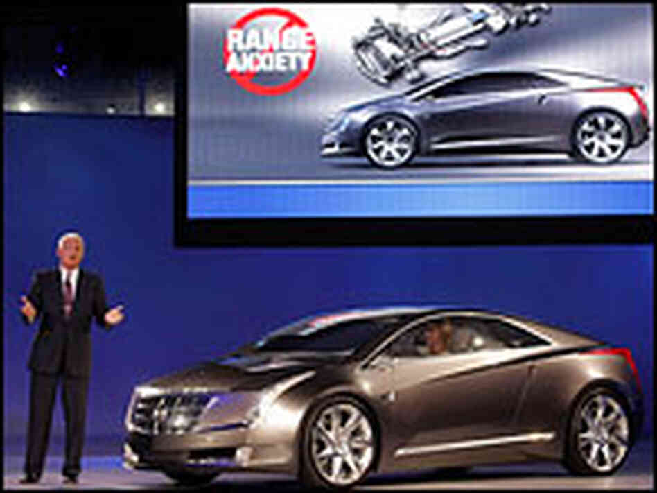 GM's Bob Lutz introduces the Cadillac Converj electric concept vehicle.