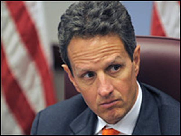 Timothy Geithner, President-elect Obama's pick for Treasury secretary, watches as Obama speaks after a meeting with members of his economic team Jan. 5.