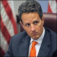 Timothy Geithner, President-elect Obama's pick for Treasury secretary, watches as Obama speaks after a meeting with members of his economic team last week.