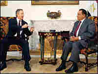 Middle East peace quartet envoy Tony Blair meets with Egypt's President Hosni Mubarak in Cairo.