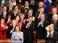 House Speaker Nancy Pelosi (D-CA) is applauded after she was re-elected as House speaker.