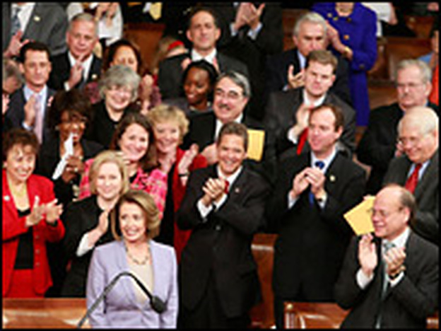 House Speaker Nancy Pelosi (D-CA) is applauded Jan. 6 after she was re-elected as House speaker on the first day of the 111th Congress.