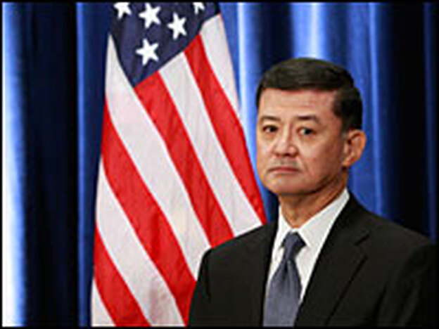 Retired Gen. Eric Shinseki listens as he is introduced by President-elect Obama as his choice for secretary of veterans affairs on Dec. 7, 2008, in Chicago.