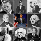 Photo illustration of multiple U.S. presidents' faces