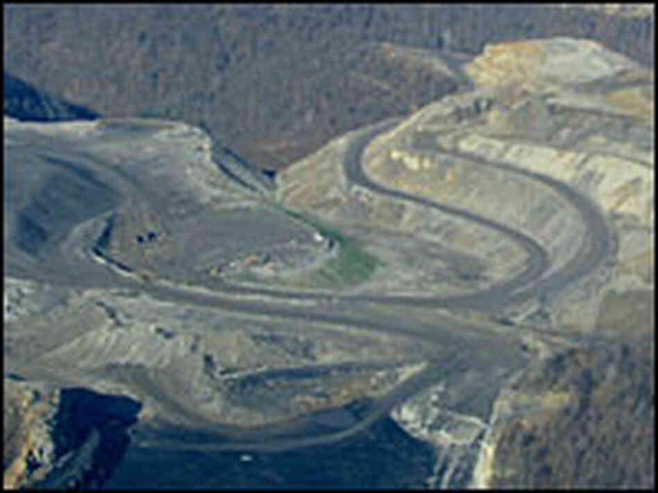 This aerial view shows the mountaintop mining operation that flattened Kayford Mountain.