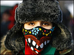 Barbara Smalls, 21, of Chicago is selling hand-painted facemasks.