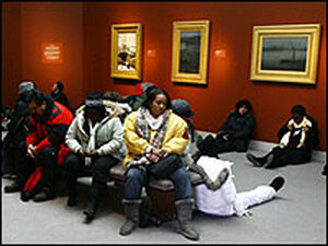 Inaugural visitors take a break in one of the Freer museum galleries.