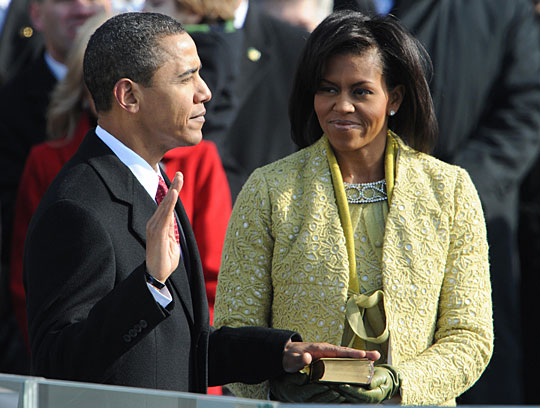 Barack Obama is sworn in as president