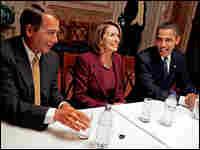 House Minority Leader John Boehner with House Speaker Nancy Pelosi and Barack Obama