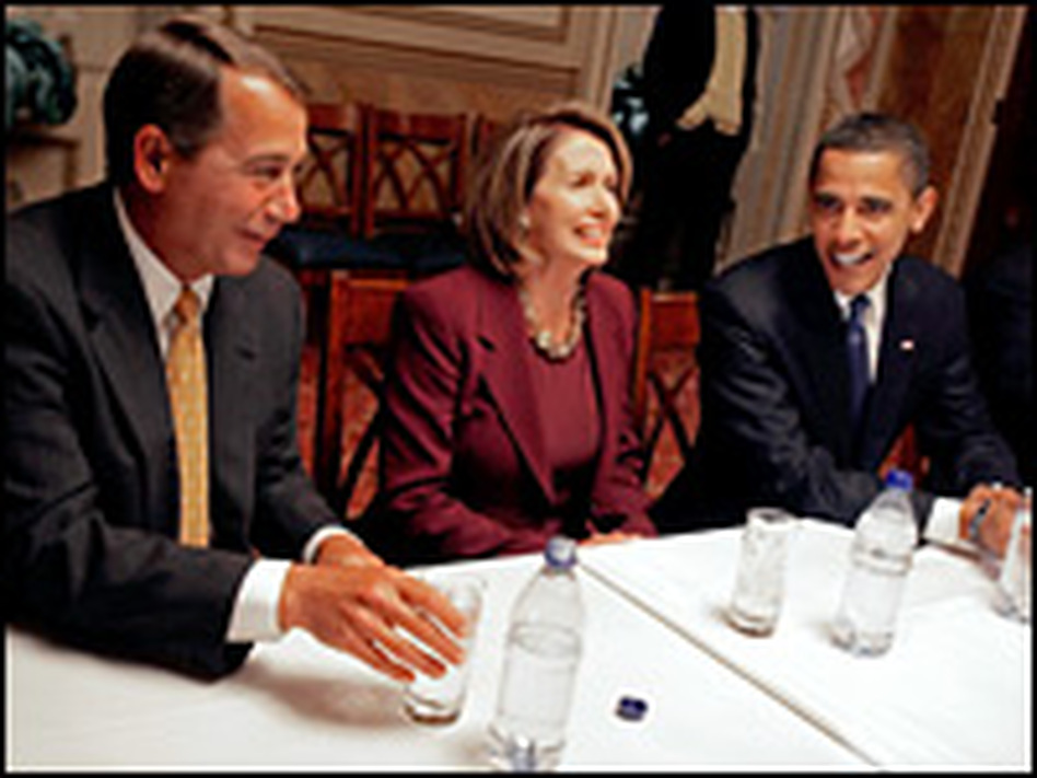 House Minority Leader John Boehner (R-OH) meets with Speaker of the House Nancy Pelosi (D-CA) and Barack Obama in the first days of the new Congress.
