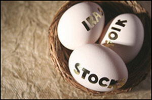 A photo illustration of a retirement 'nest egg.'
