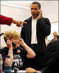 During his presidential campaign, Barack Obama talks on a cell phone Nov. 3, 2008