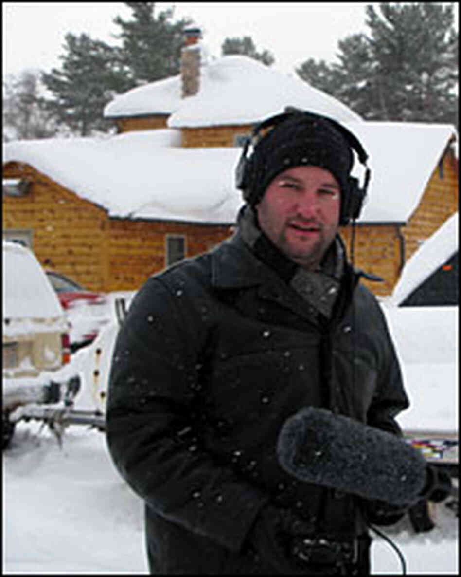 NPR's David Greene bundles up for outdoor interviews in northern Michigan.