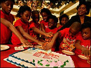 Octuplets Ebuka, Echerem, Jioke, Chima, Gorom, Chidi, Ikem, Favor, and their mother, Nkem Chukwu.