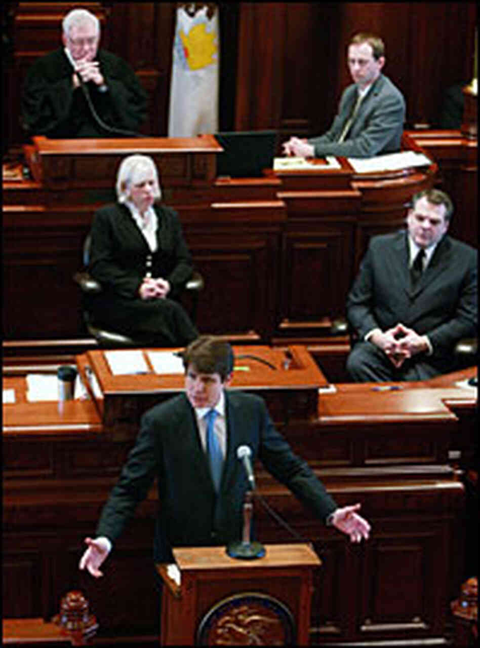 Illinois Gov. Rod Blagojevich addresses the state Senate during his impeachment trial Thursday