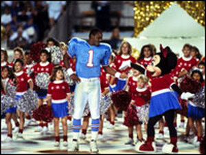 the halftime stage with Minnie Mouse at the 1991 Super Bowl in Tampa