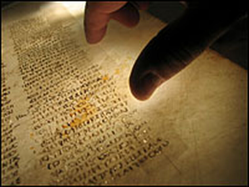 This undated picture made available by the British Library shows a reader examining a page from the earliest known Bible. The British Library says the surviving pages of the world's oldest Bible have been reunited digitally.