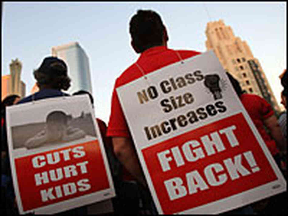 Californians protest school cuts earlier this year