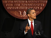 President Barack Obama addresses the NAACP annual convention in New York City on Thursday.
