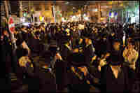 Ultra-Orthodox Jewish men take part in a protest in the Mea Sharim neighborhood.
