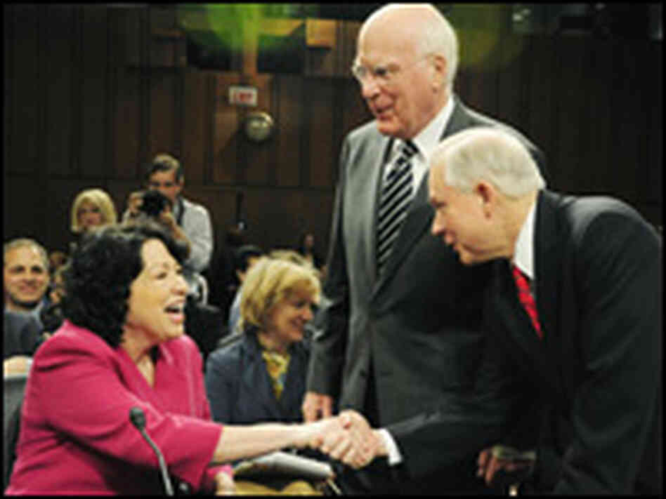 Sonia Sotomayor, Patrick Leahy and Jeff Sessions
