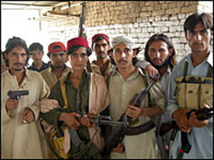 Young Taliban militants in the district of Tank