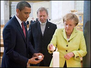 President Obama and German Chancellor Angela Merkel in Germany. Saul Loeb/AFP/Getty