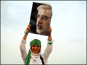 A supporter of Mir Hossein Mousavi