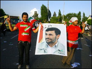 Ahmadinejad supporters at an election rally in Tehran