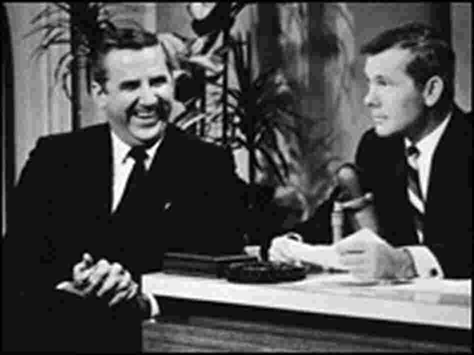 Ed McMahon shares a laugh with host Johnny Carson on the set of 'The Tonight Show' in the 1960s.