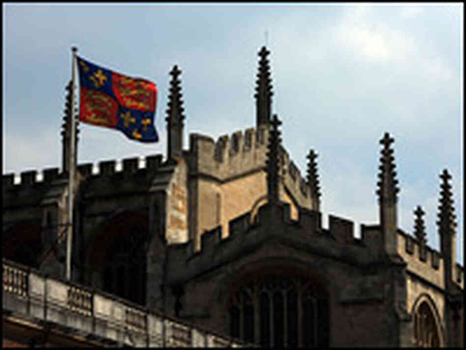 The flag of Eton College flies above Upper School and College Chapel.