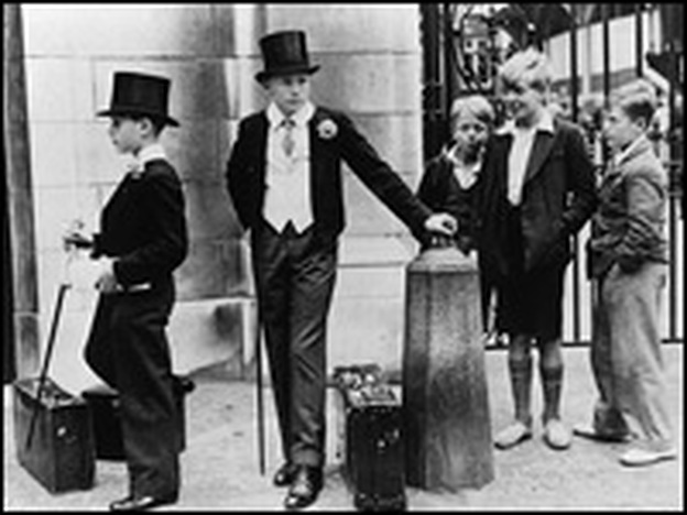 "For centuries, attending Eton College was a passport to wealth and success (above, two Eton boys attract attention in 1937). But in the 1980s and '90s, people tended to sneer at the ""toffs."""