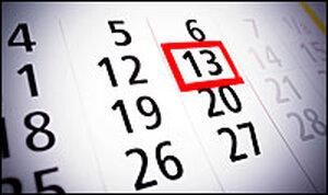 Calendar highlighting the 13th