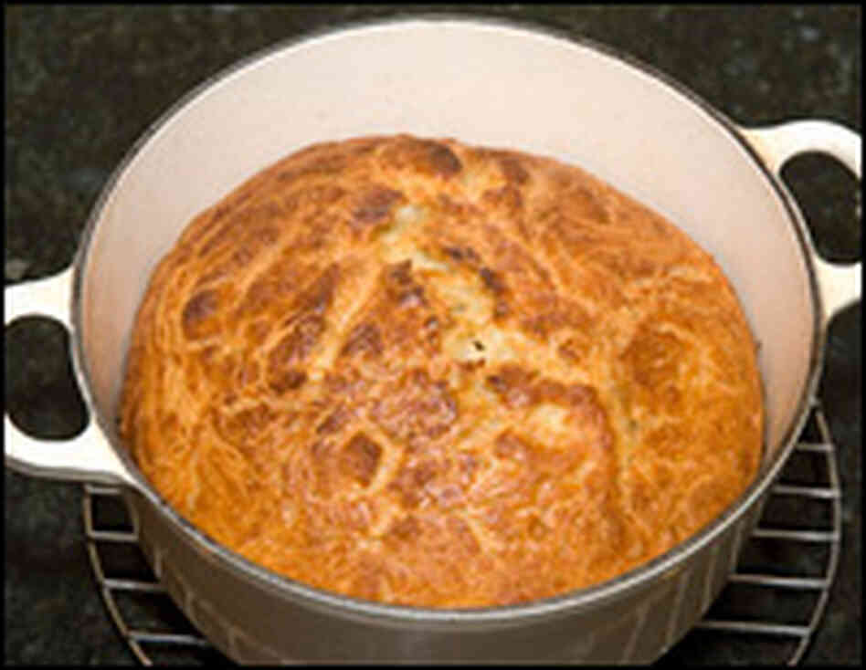 A loaf of bread baked in a pot.