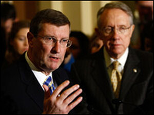 Senate Budget Committee Chairman Kent Conrad answers question