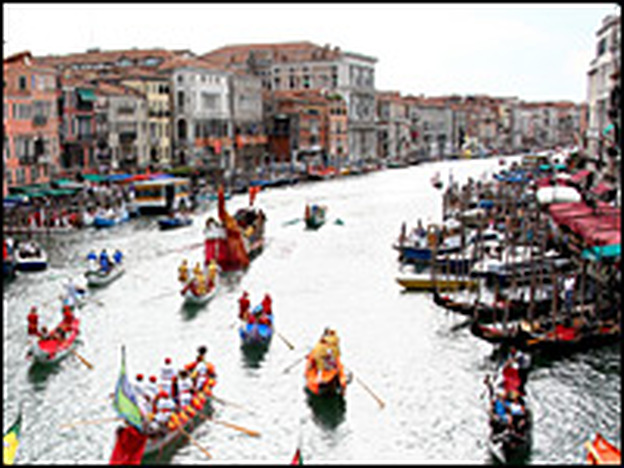 The Canal Grande during the Venice Historical Regatta in September 2008. Tourism to Italy is down 25 percent from last year.