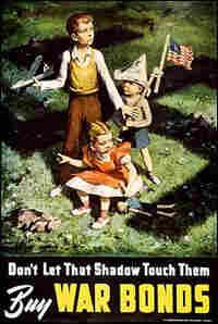 A World War II-era poster calls upon the patriotic spirit to help the war effort.