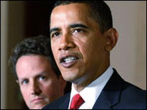 President Obama speaks as Treasury Secretary Timothy Geithner looks on.
