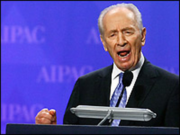 Israeli President Shimon Peres addresses the annual policy conference of the American Israel Public Affairs Committee, a powerful pro-Israel lobbying group, Monday in Washington, D.C.