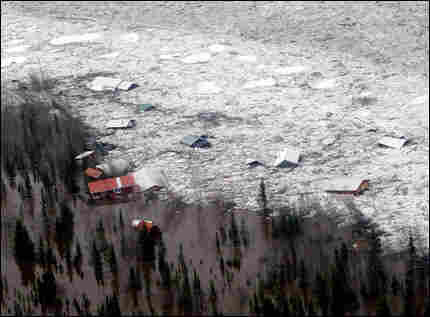The town of Eagle, Alaska, is flooded by ice and water from the Yukon River.