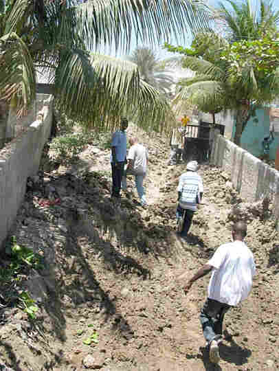 A mud-filled street in Gonaives, Haiti
