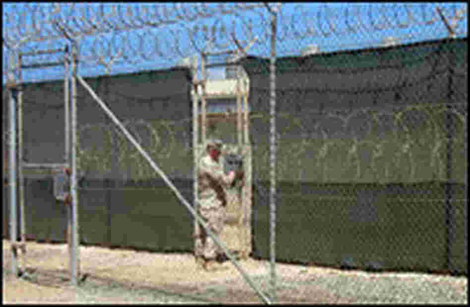 A military guard outside Guantanamo's medium-security prison, Camp IV.